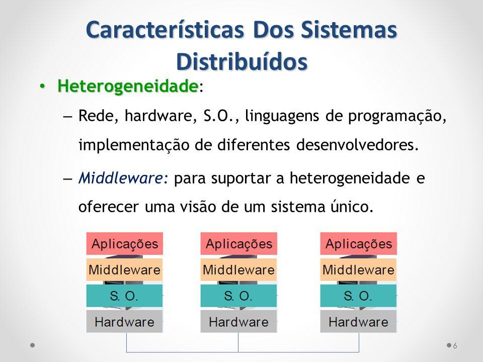 Características Dos Sistemas Distribuídos 6 Heterogeneidade Heterogeneidade : – Rede, hardware, S.O., linguagens de programação, implementação de dife