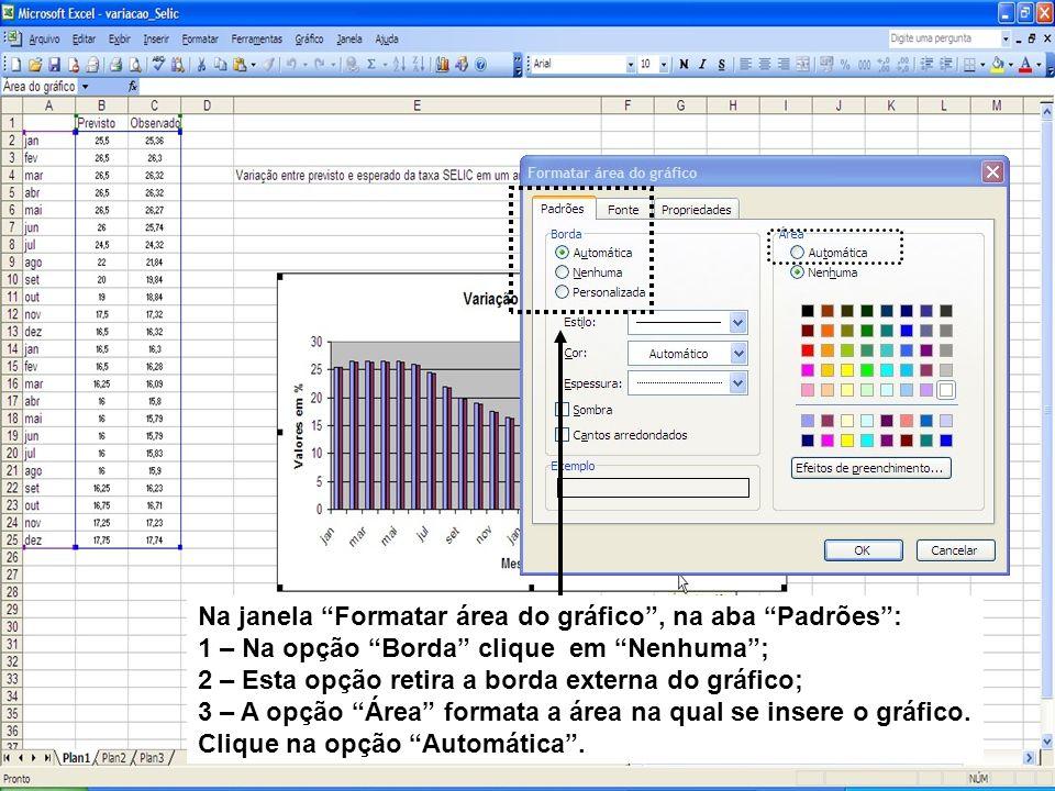 Na janela Formatar área do gráfico, na aba Padrões: 1 – Na opção Borda clique em Nenhuma; 2 – Esta opção retira a borda externa do gráfico; 3 – A opçã