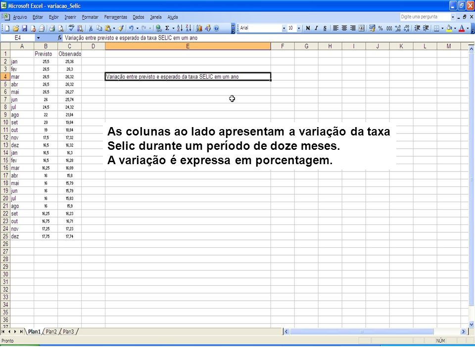Para construir um gráfico exibindo a variação: 1 – Selecione as colunas e linhas; 2 – Deve incluir os dados como Meses e as variáveis Previsto e Observado