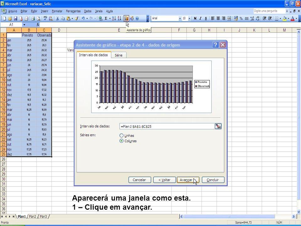 Agora vamos formatar a Série de dados, ou seja, as barras do gráfico de barras; 1 – Clique com o botão direito do mouse sobre as colunas do gráfico; 2 – Selecione Formatar série de dados.