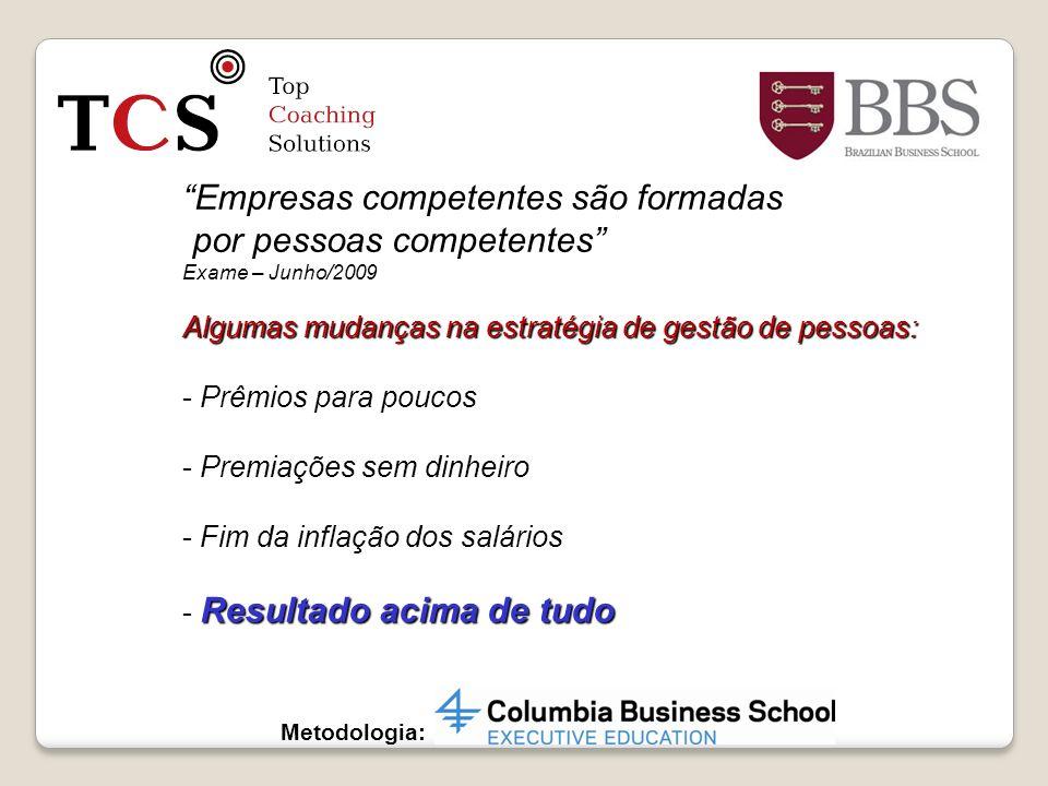 Metodologia: Empresas competentes são formadas por pessoas competentes por pessoas competentes Exame – Junho/2009 Algumas mudanças na estratégia de ge