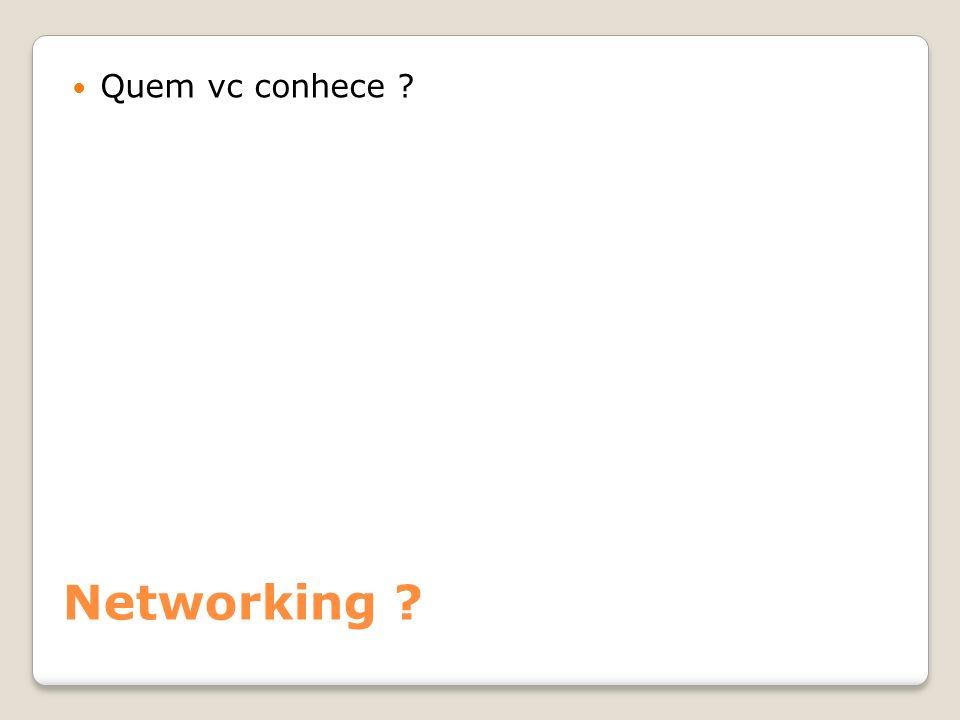 Networking ? Quem vc conhece ?