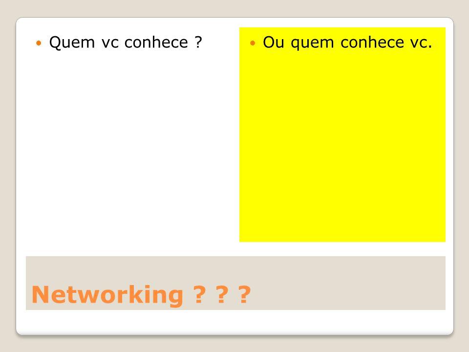 Networking ? ? ? Quem vc conhece ? Ou quem conhece vc.