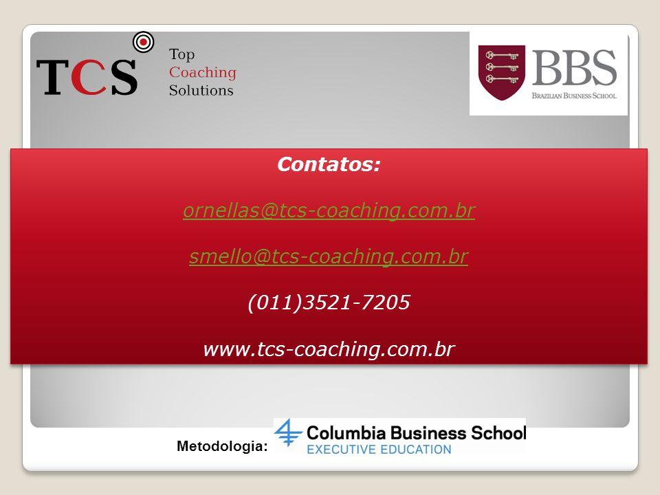 Contatos: ornellas@tcs-coaching.com.br smello@tcs-coaching.com.br (011)3521-7205 www.tcs-coaching.com.br Contatos: ornellas@tcs-coaching.com.br smello