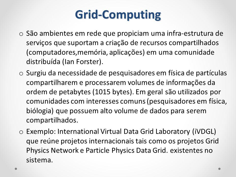 o São ambientes em rede que propiciam uma infra-estrutura de serviços que suportam a criação de recursos compartilhados (computadores,memória, aplicaç