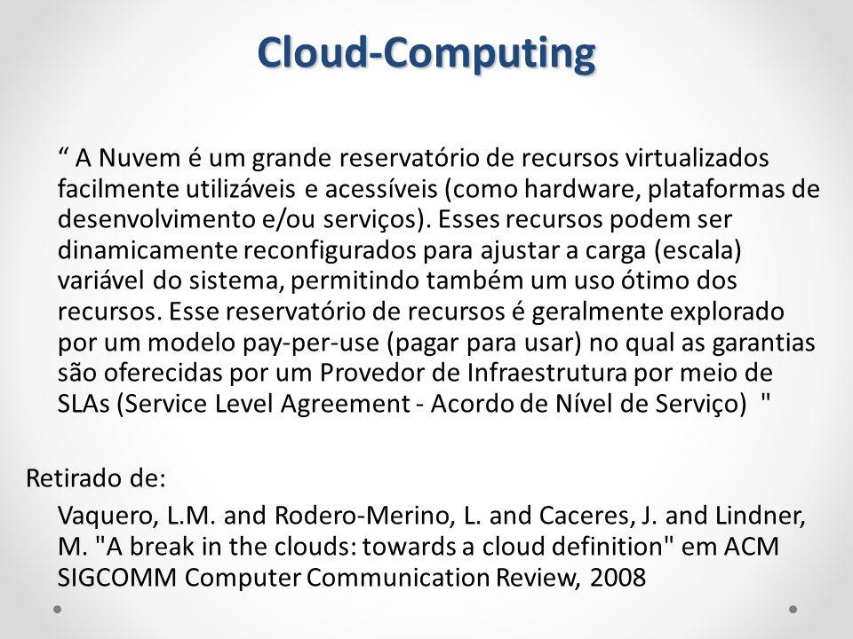 A Nuvem é um grande reservatório de recursos virtualizados facilmente utilizáveis e acessíveis (como hardware, plataformas de desenvolvimento e/ou ser