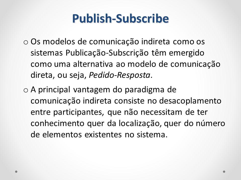 o Os modelos de comunicação indireta como os sistemas Publicação-Subscrição têm emergido como uma alternativa ao modelo de comunicação direta, ou seja