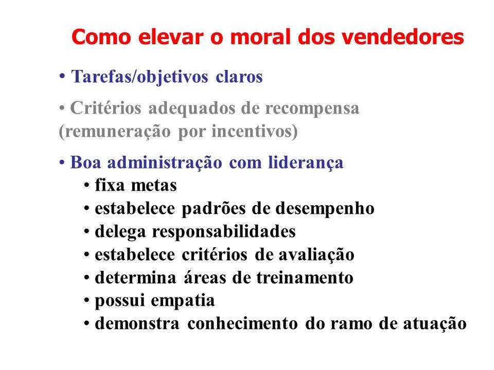 Como elevar o moral dos vendedores Tarefas/objetivos claros Critérios adequados de recompensa (remuneração por incentivos) Boa administração com lider
