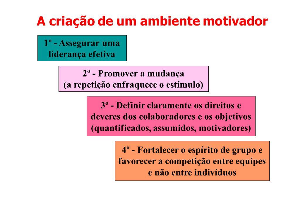 A criação de um ambiente motivador 1º - Assegurar uma liderança efetiva 2º - Promover a mudança (a repetição enfraquece o estímulo) 3º - Definir clara