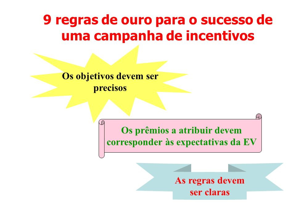 9 regras de ouro para o sucesso de uma campanha de incentivos Os objetivos devem ser precisos Os prêmios a atribuir devem corresponder às expectativas