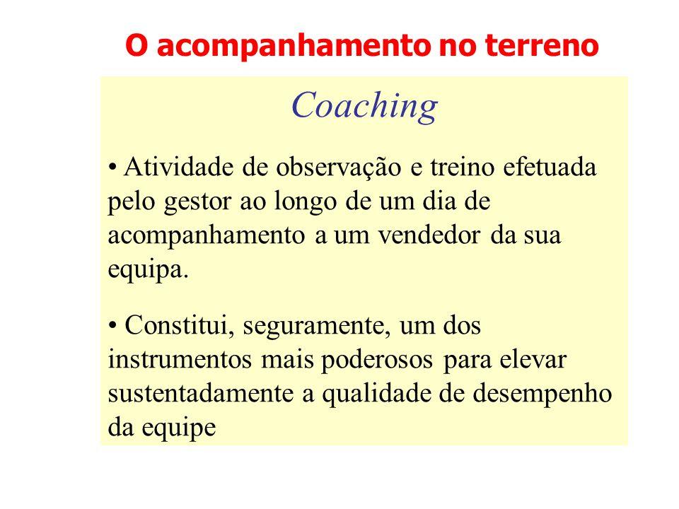 O acompanhamento no terreno Coaching Atividade de observação e treino efetuada pelo gestor ao longo de um dia de acompanhamento a um vendedor da sua e