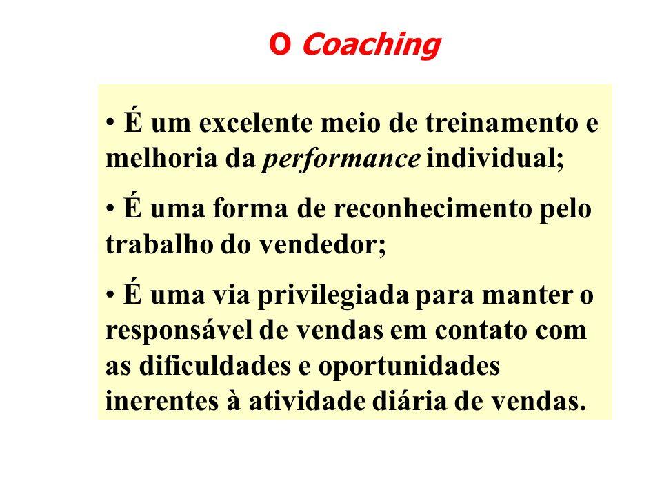 O Coaching É um excelente meio de treinamento e melhoria da performance individual; É uma forma de reconhecimento pelo trabalho do vendedor; É uma via