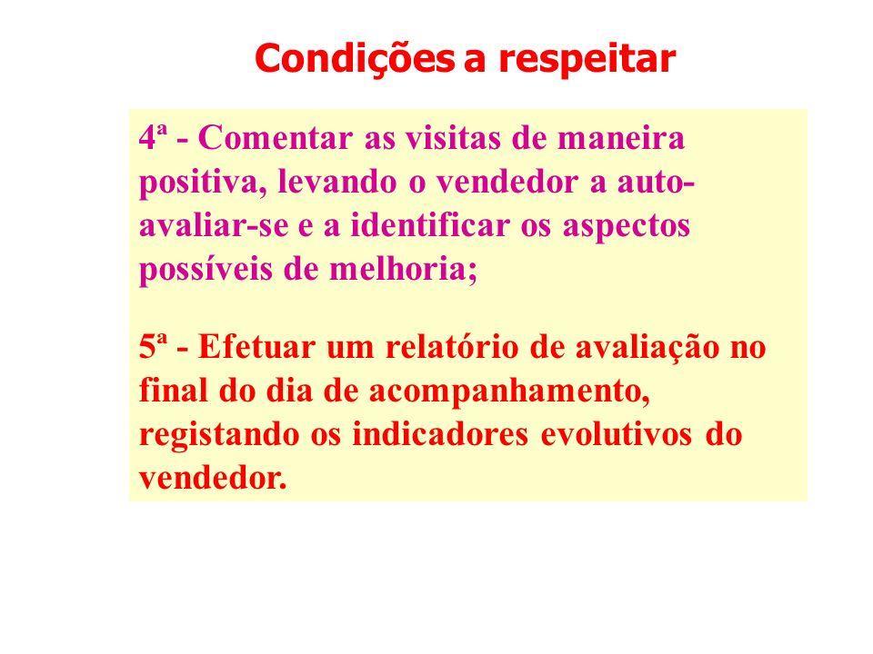 Condições a respeitar 4ª - Comentar as visitas de maneira positiva, levando o vendedor a auto- avaliar-se e a identificar os aspectos possíveis de mel