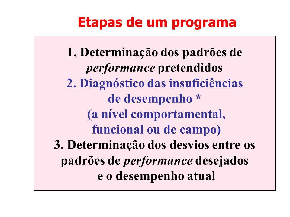 Etapas de um programa 1. Determinação dos padrões de performance pretendidos 2. Diagnóstico das insuficiências de desempenho * (a nível comportamental