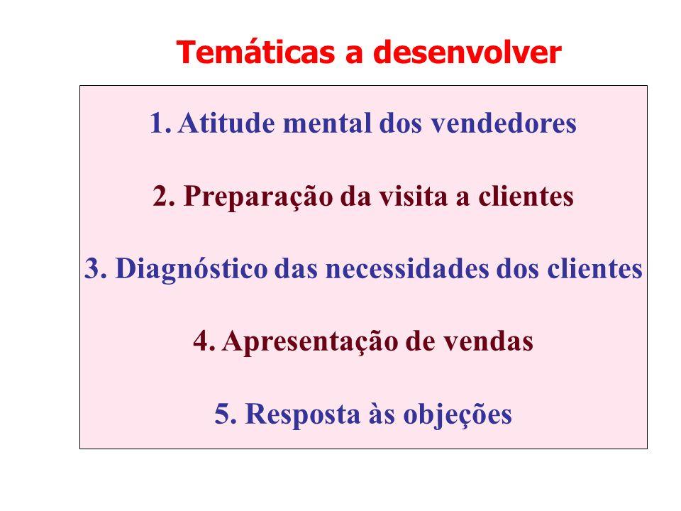 Temáticas a desenvolver 1. Atitude mental dos vendedores 2. Preparação da visita a clientes 3. Diagnóstico das necessidades dos clientes 4. Apresentaç