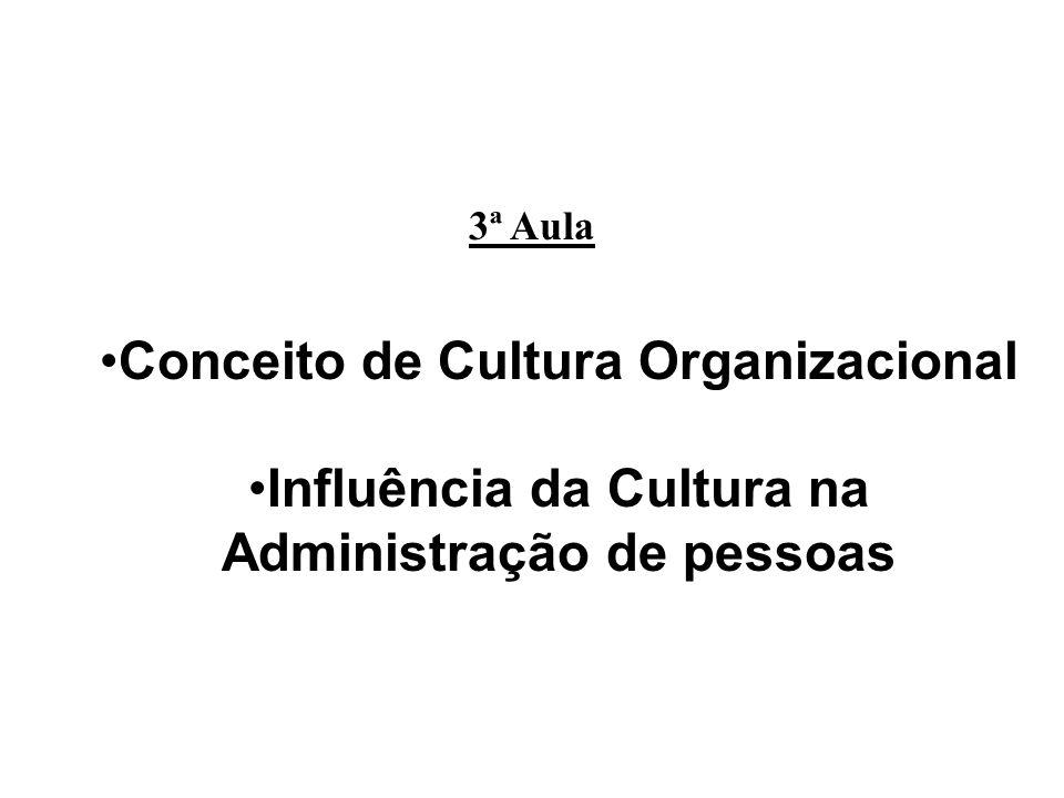 3ª Aula Conceito de Cultura Organizacional Influência da Cultura na Administração de pessoas