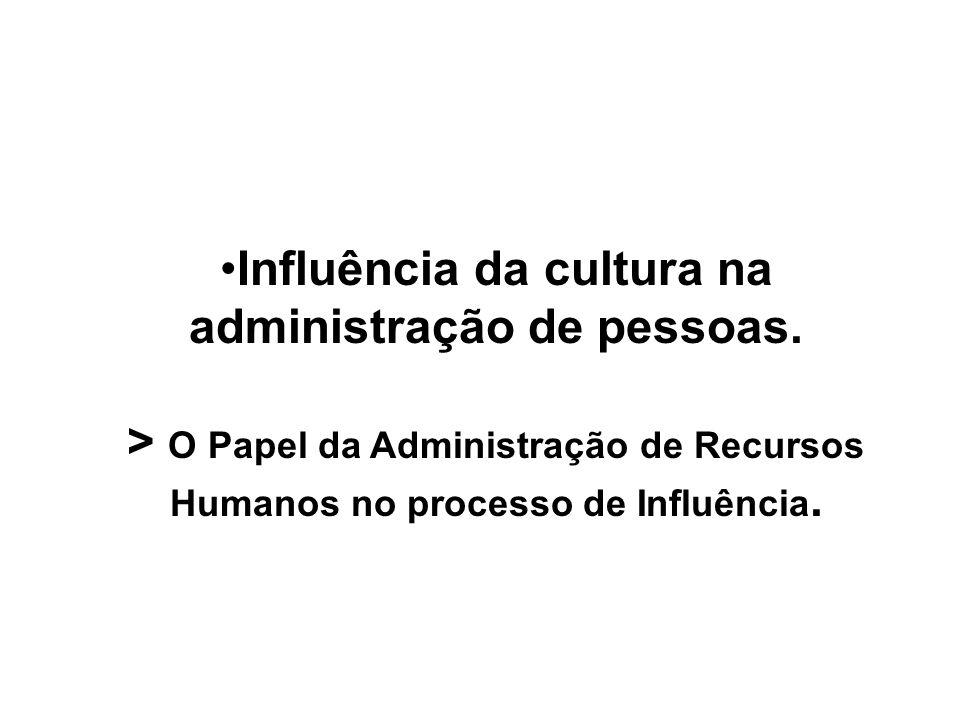 Influência da cultura na administração de pessoas. > O Papel da Administração de Recursos Humanos no processo de Influência.