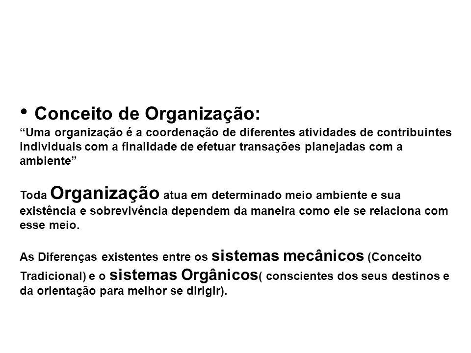 Conceito de Organização: Uma organização é a coordenação de diferentes atividades de contribuintes individuais com a finalidade de efetuar transações