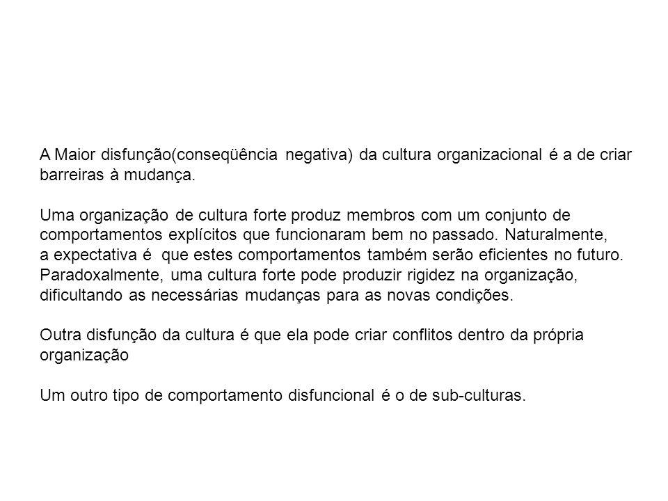 A Maior disfunção(conseqüência negativa) da cultura organizacional é a de criar barreiras à mudança. Uma organização de cultura forte produz membros c