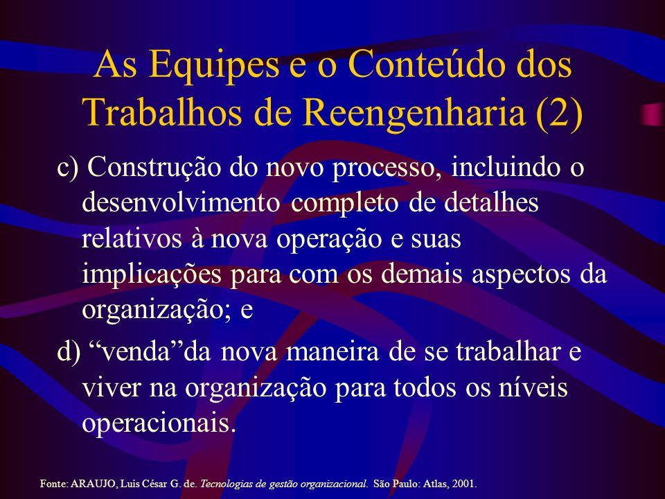 As Equipes e o Conteúdo dos Trabalhos de Reengenharia (2) c) Construção do novo processo, incluindo o desenvolvimento completo de detalhes relativos à