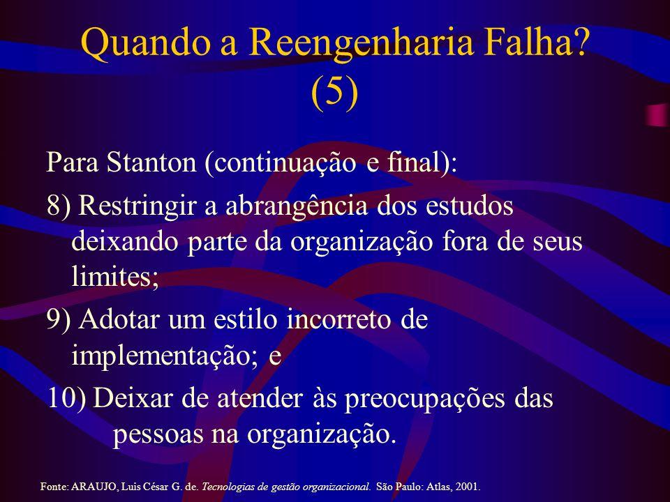 Quando a Reengenharia Falha? (5) Para Stanton (continuação e final): 8) Restringir a abrangência dos estudos deixando parte da organização fora de seu