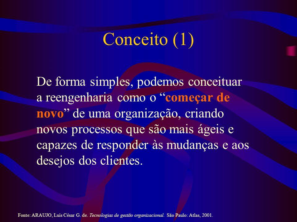 Conceito (1) De forma simples, podemos conceituar a reengenharia como o começar de novo de uma organização, criando novos processos que são mais ágeis e capazes de responder às mudanças e aos desejos dos clientes.
