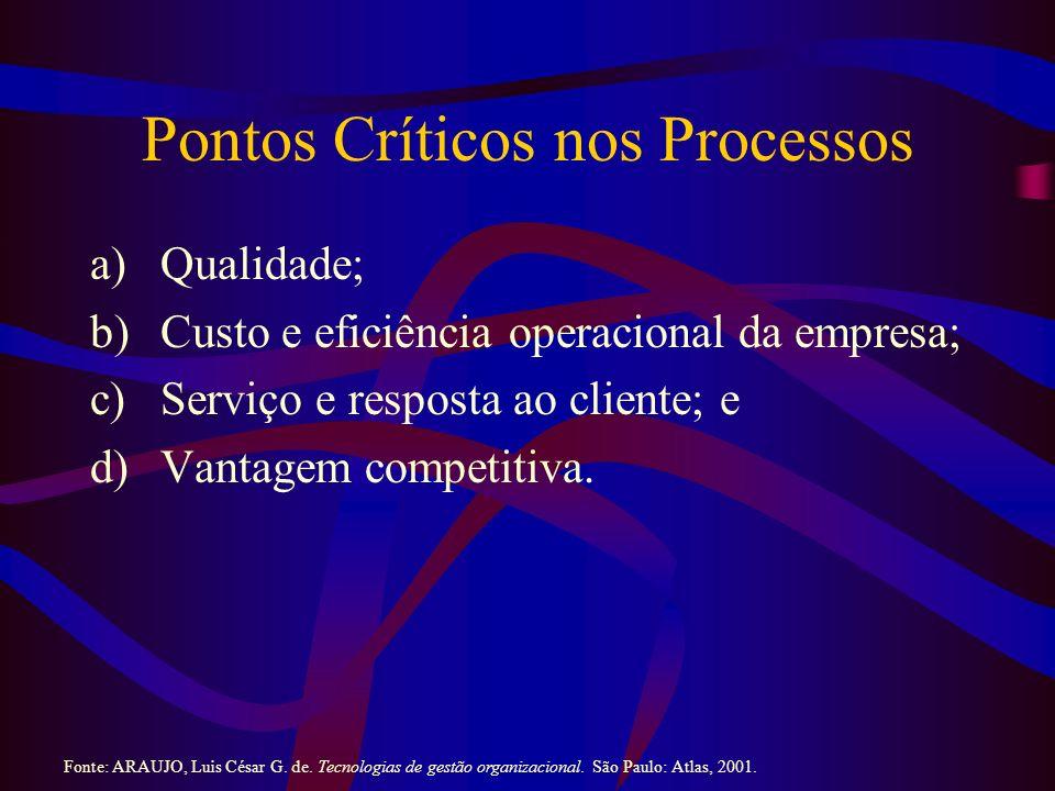 Pontos Críticos nos Processos a)Qualidade; b)Custo e eficiência operacional da empresa; c)Serviço e resposta ao cliente; e d)Vantagem competitiva.