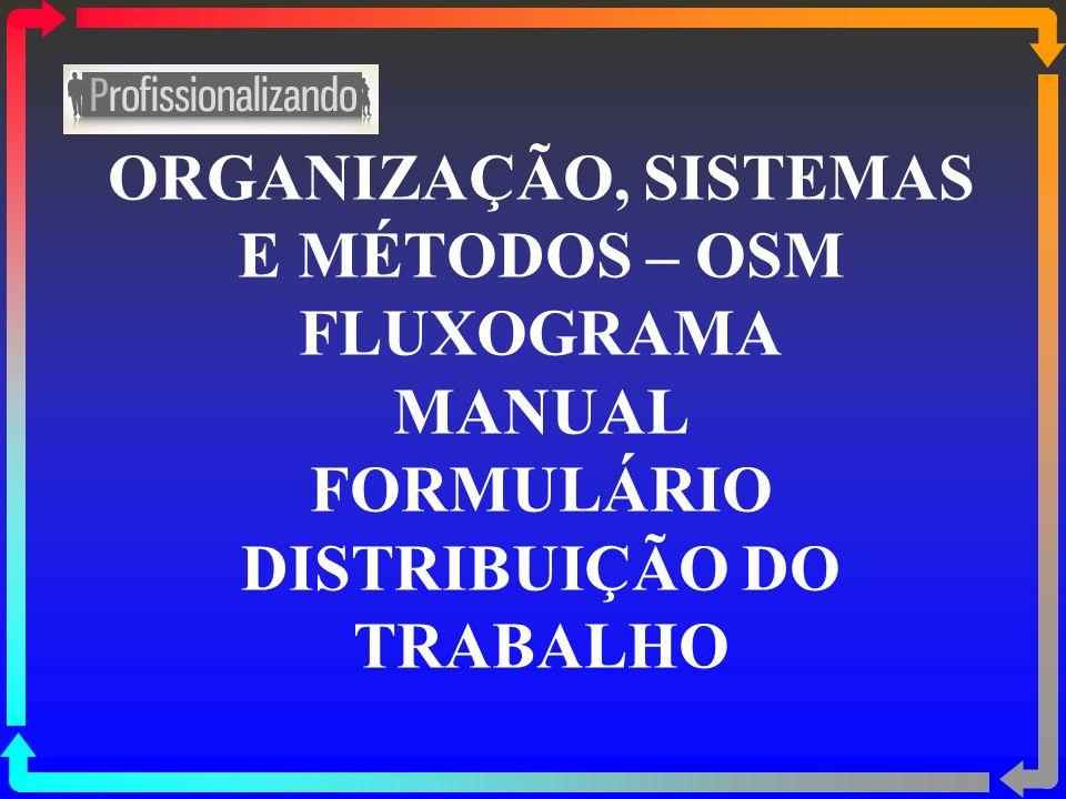 ORGANIZAÇÃO, SISTEMAS E MÉTODOS – OSM FLUXOGRAMA MANUAL FORMULÁRIO DISTRIBUIÇÃO DO TRABALHO