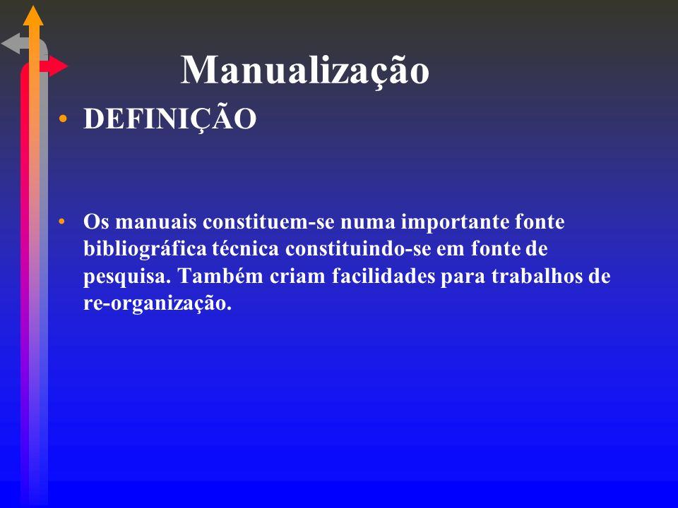 Manualização DEFINIÇÃO Os manuais constituem-se numa importante fonte bibliográfica técnica constituindo-se em fonte de pesquisa. Também criam facilid