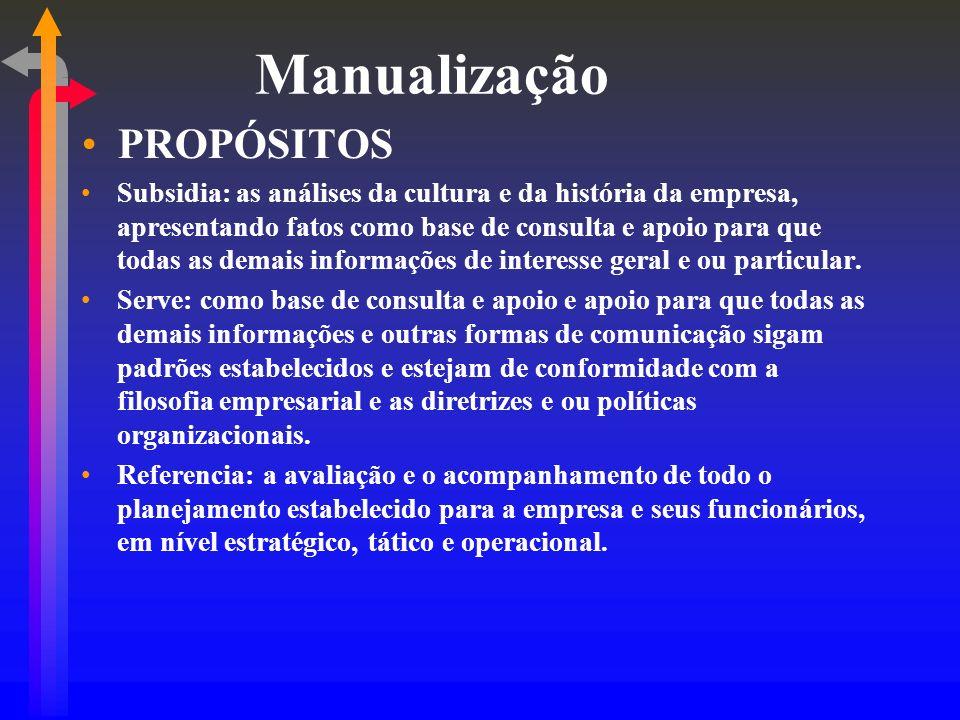Manualização PROPÓSITOS Subsidia: as análises da cultura e da história da empresa, apresentando fatos como base de consulta e apoio para que todas as