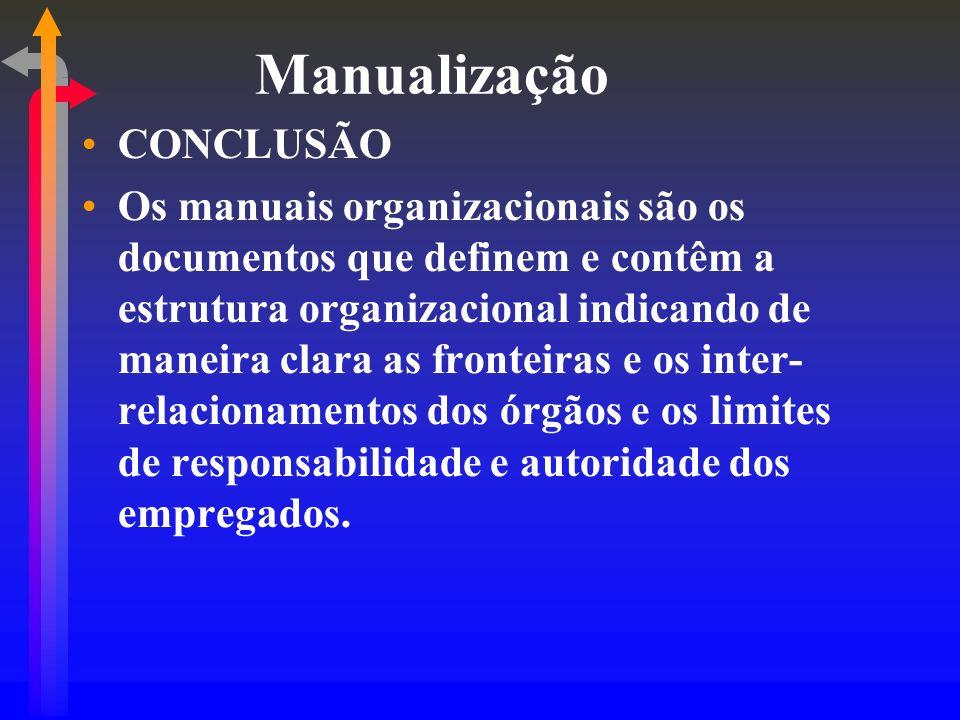Manualização CONCLUSÃO Os manuais organizacionais são os documentos que definem e contêm a estrutura organizacional indicando de maneira clara as fron