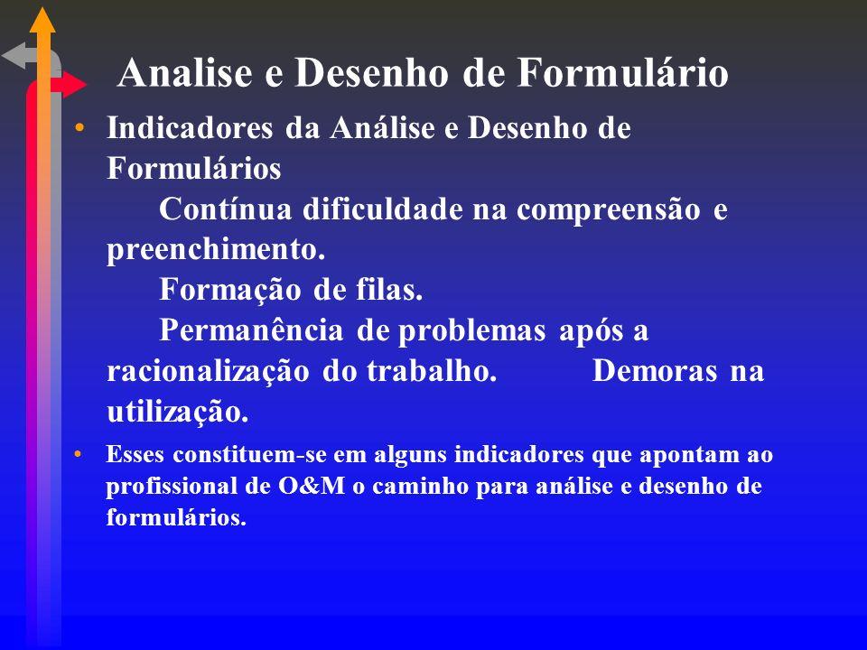 Analise e Desenho de Formulário Indicadores da Análise e Desenho de Formulários Contínua dificuldade na compreensão e preenchimento. Formação de filas