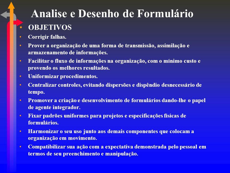 Analise e Desenho de Formulário OBJETIVOS Corrigir falhas. Prover a organização de uma forma de transmissão, assimilação e armazenamento de informaçõe