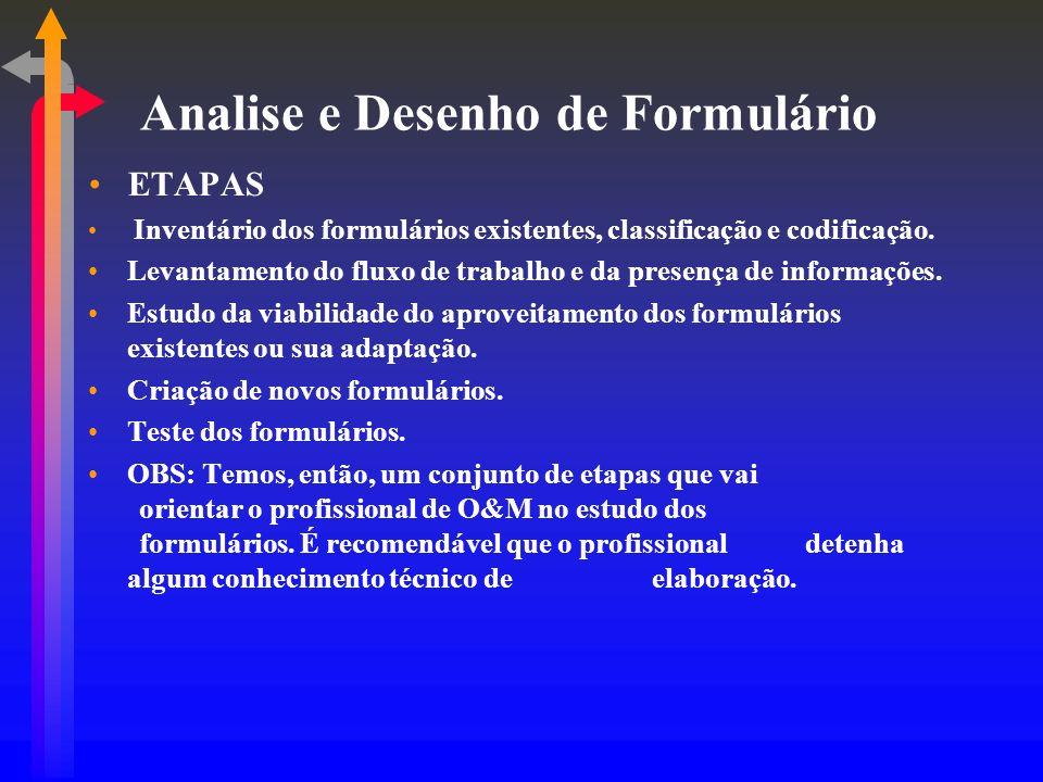 Analise e Desenho de Formulário ETAPAS Inventário dos formulários existentes, classificação e codificação. Levantamento do fluxo de trabalho e da pres