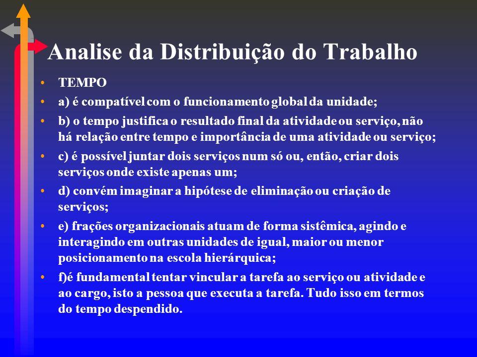 Analise da Distribuição do Trabalho TEMPO a) é compatível com o funcionamento global da unidade; b) o tempo justifica o resultado final da atividade o