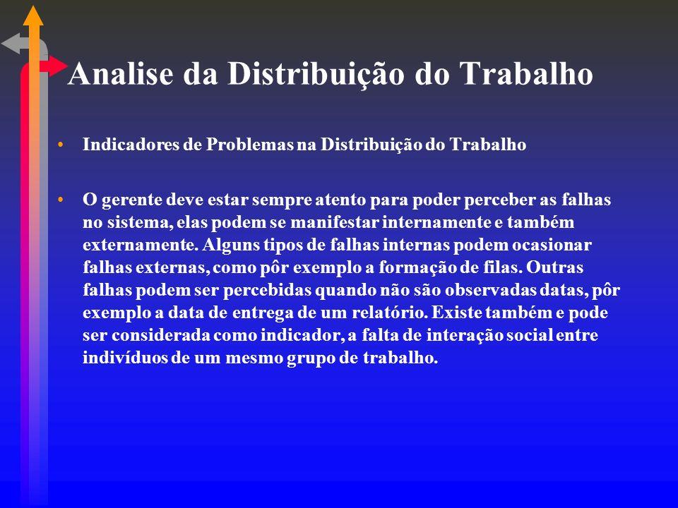 Analise da Distribuição do Trabalho Indicadores de Problemas na Distribuição do Trabalho O gerente deve estar sempre atento para poder perceber as fal
