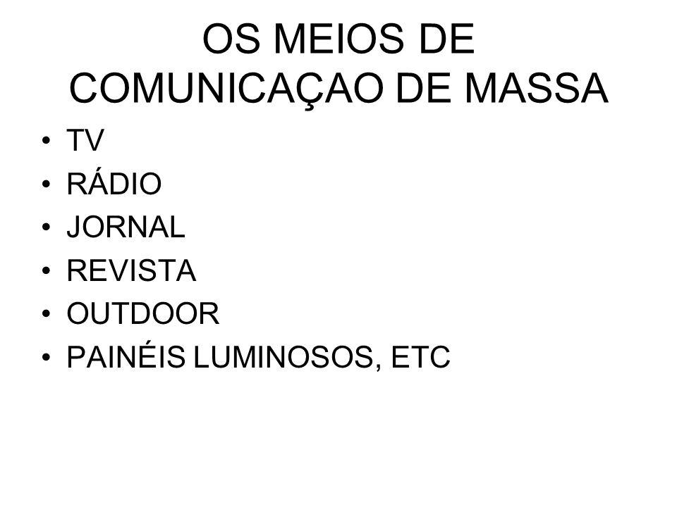 OS MEIOS DE COMUNICAÇAO DE MASSA TV RÁDIO JORNAL REVISTA OUTDOOR PAINÉIS LUMINOSOS, ETC