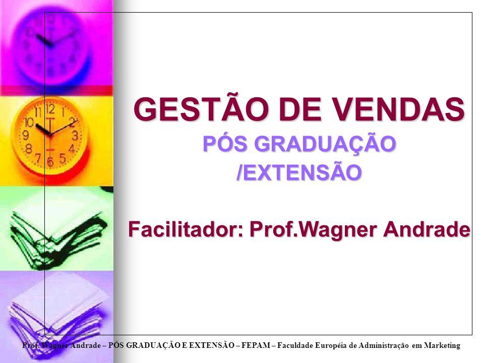 Prof. Wagner Andrade – PÓS GRADUAÇÃO E EXTENSÃO – FEPAM – Faculdade Européia de Administração em Marketing GESTÃO DE VENDAS PÓS GRADUAÇÃO /EXTENSÃO Fa