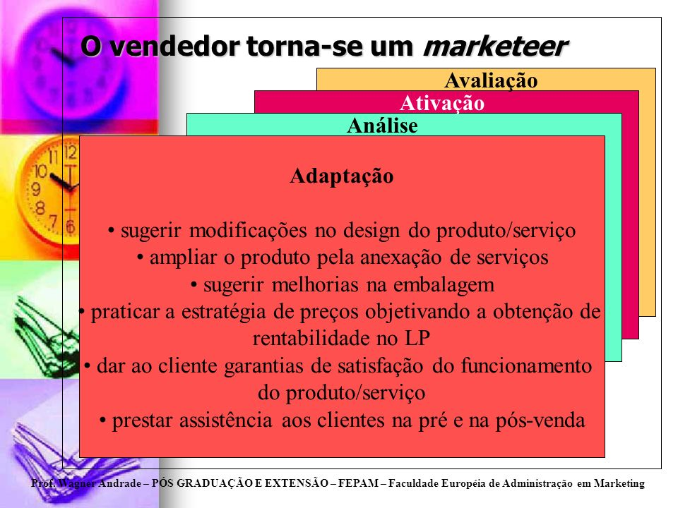 Prof. Wagner Andrade – PÓS GRADUAÇÃO E EXTENSÃO – FEPAM – Faculdade Européia de Administração em Marketing O vendedor torna-se um marketeer Adaptação