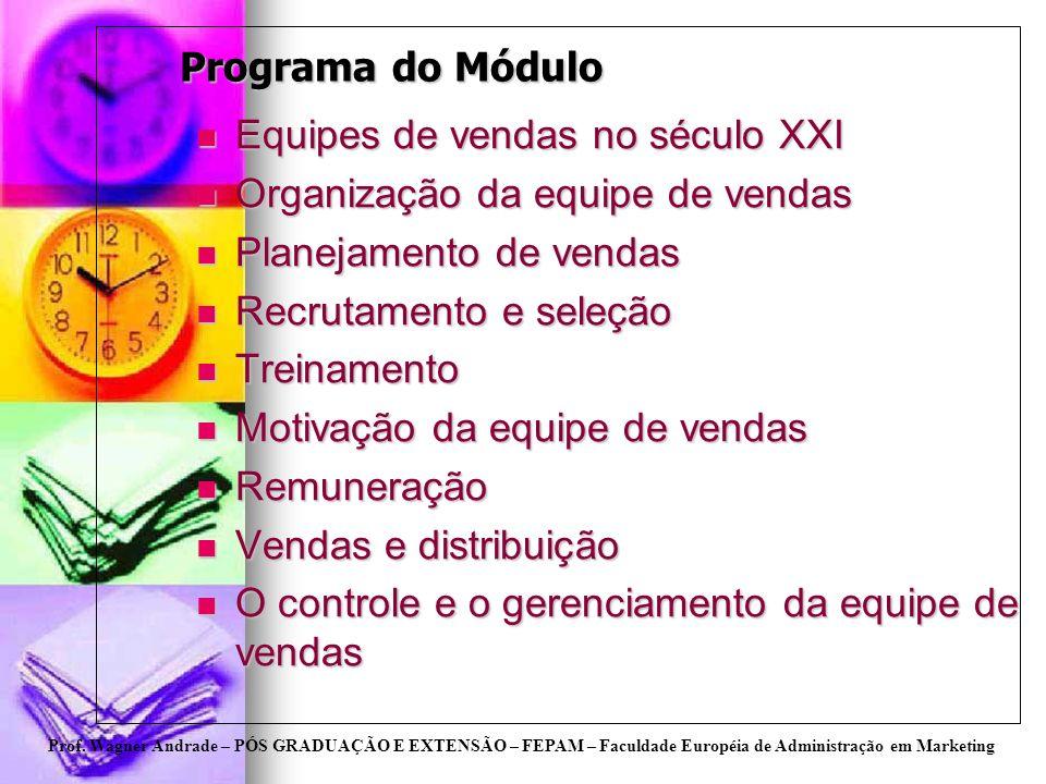 Prof. Wagner Andrade – PÓS GRADUAÇÃO E EXTENSÃO – FEPAM – Faculdade Européia de Administração em Marketing Programa do Módulo Equipes de vendas no séc