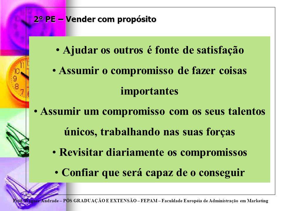 Prof. Wagner Andrade – PÓS GRADUAÇÃO E EXTENSÃO – FEPAM – Faculdade Européia de Administração em Marketing 2° PE – Vender com propósito Ajudar os outr