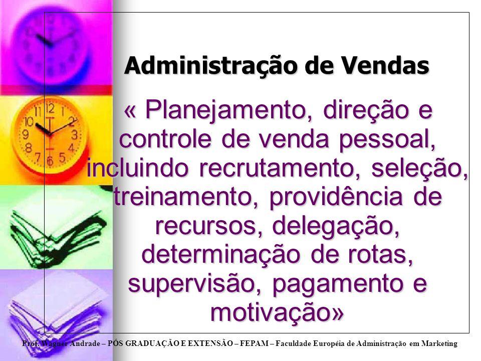 Prof. Wagner Andrade – PÓS GRADUAÇÃO E EXTENSÃO – FEPAM – Faculdade Européia de Administração em Marketing Administração de Vendas « Planejamento, dir