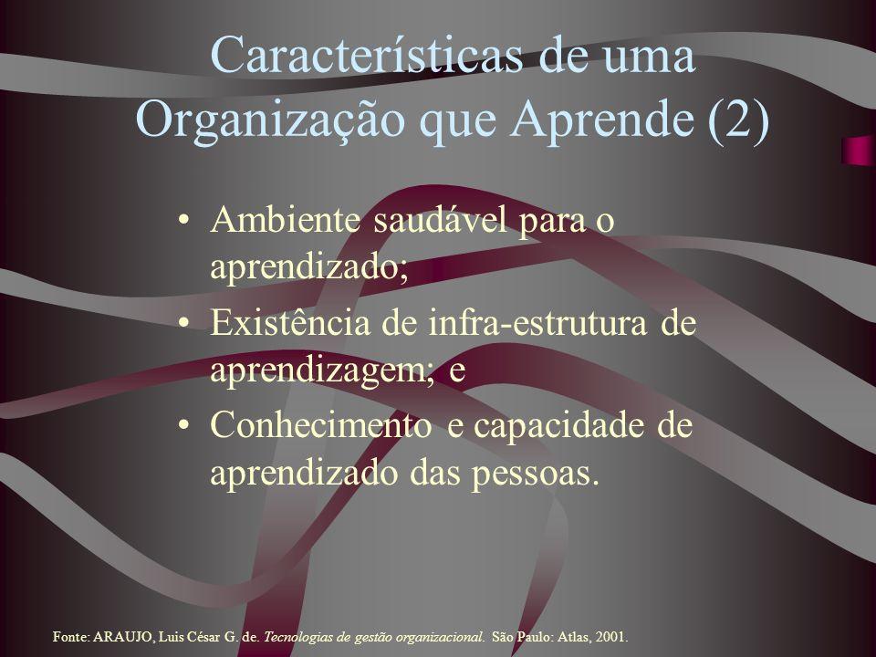 Características de uma Organização que Aprende (2) Ambiente saudável para o aprendizado; Existência de infra-estrutura de aprendizagem; e Conhecimento