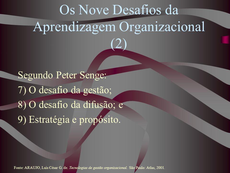 Os Nove Desafios da Aprendizagem Organizacional (2) Segundo Peter Senge: 7) O desafio da gestão; 8) O desafio da difusão; e 9) Estratégia e propósito.