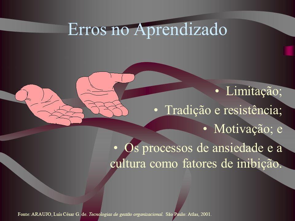 Erros no Aprendizado Limitação; Tradição e resistência; Motivação; e Os processos de ansiedade e a cultura como fatores de inibição. Fonte: ARAUJO, Lu