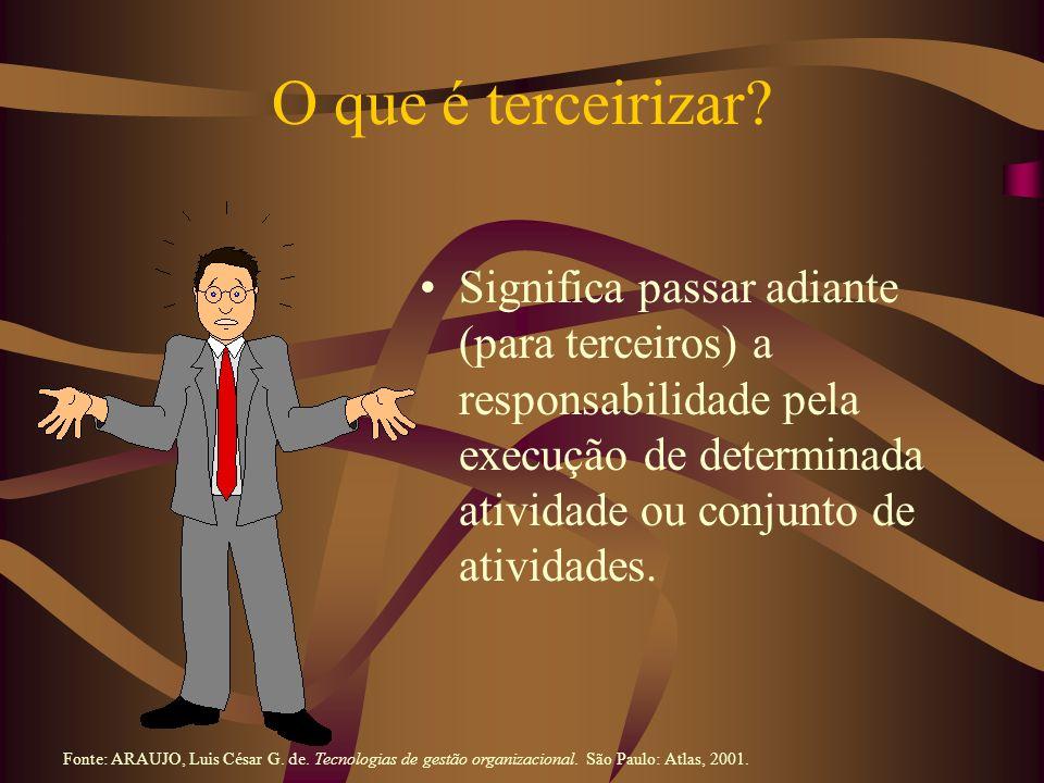 Tipos de Terceirização A terceirização pode ser classificada consoante dois critérios: 1) a natureza do trabalho ou atividade que é terceirizado; e 2) o modo pelo qual se opera a terceirização Fonte: ARAUJO, Luis César G.