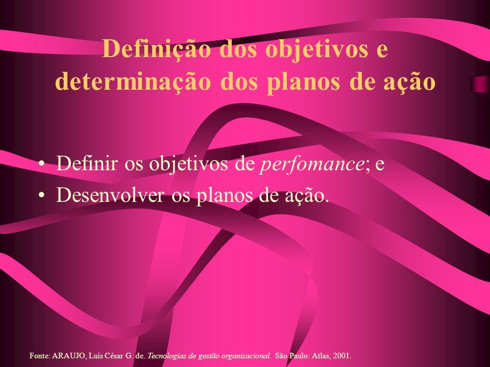 Definição dos objetivos e determinação dos planos de ação Definir os objetivos de perfomance; e Desenvolver os planos de ação. Fonte: ARAUJO, Luis Cés