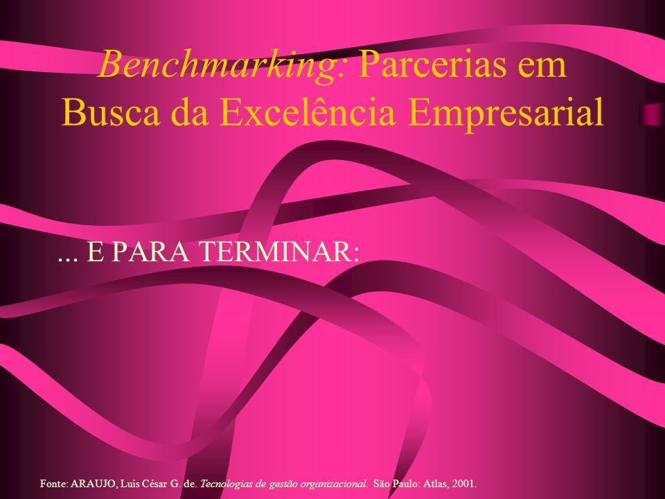 Benchmarking: Parcerias em Busca da Excelência Empresarial... E PARA TERMINAR: Fonte: ARAUJO, Luis César G. de. Tecnologias de gestão organizacional.