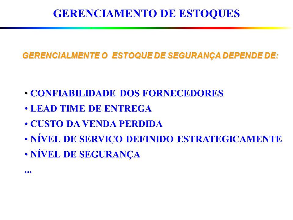 GERENCIAMENTO DE ESTOQUES GERENCIALMENTE O ESTOQUE DE SEGURANÇA DEPENDE DE: CONFIABILIDADE DOS FORNECEDORES LEAD TIME DE ENTREGA CUSTO DA VENDA PERDID