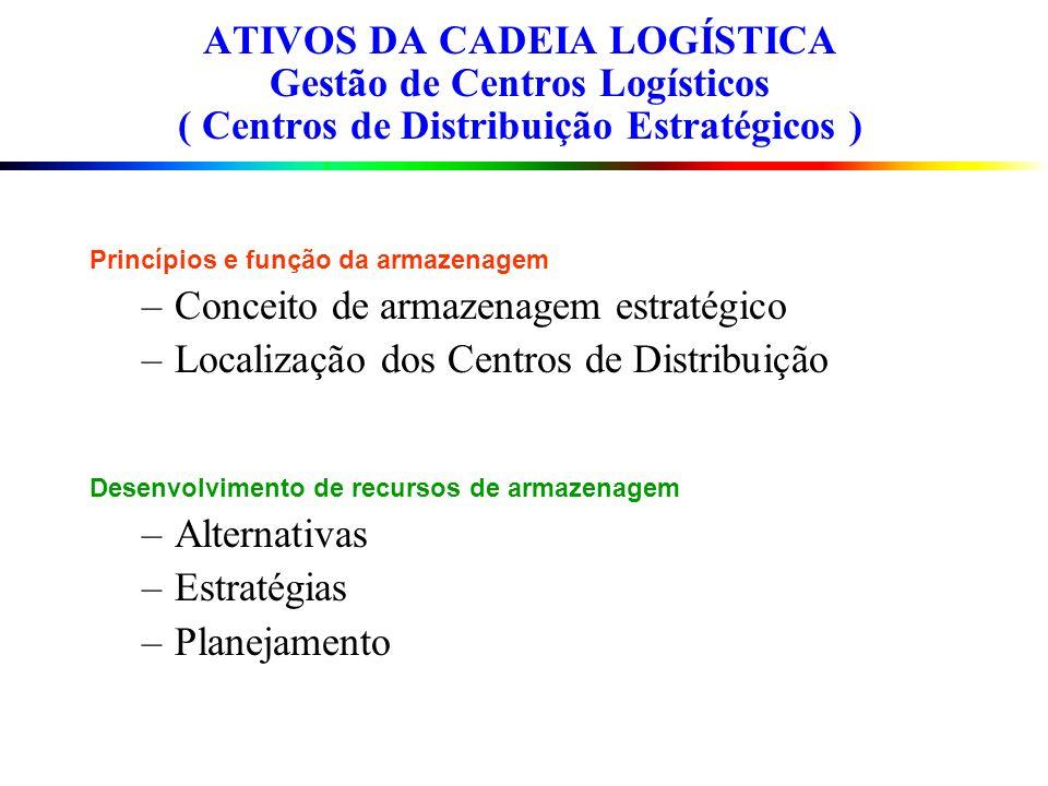 Princípios e função da armazenagem –Conceito de armazenagem estratégico –Localização dos Centros de Distribuição Desenvolvimento de recursos de armaze